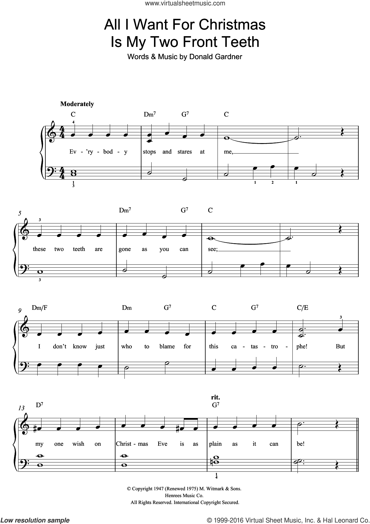 All I Want For Christmas Is My Two Front Teeth sheet music for piano ...