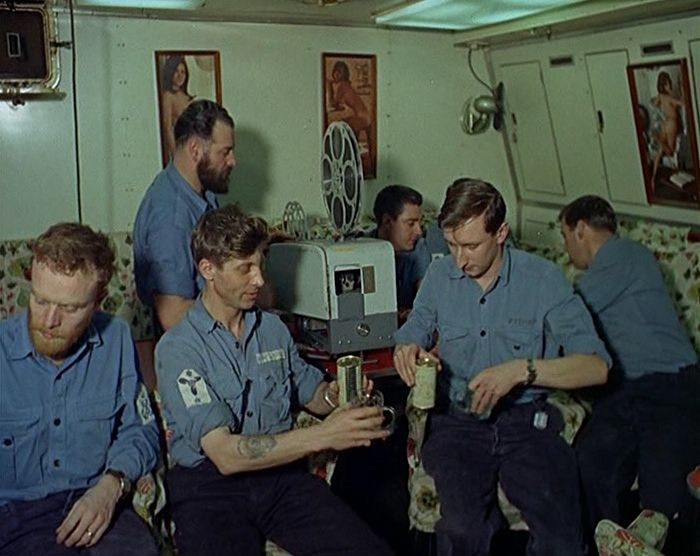 """An underwater screening. The crew of a British submarine sit down to watch a movie in our """"Life on a Submarine in 1968"""" gallery: http://www.britishpathe.com/gallery/life-on-a-submarine/"""