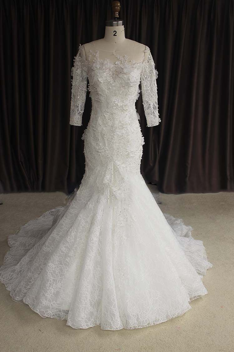 Long sleeve lace wedding dress mermaid  Click to Buy ucuc Fashionable Scoop See Through Beaded Appliques Long