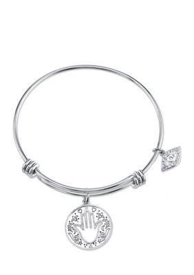 Belk Silverworks  Stainless Steel Peace Joy Success Happiness Crystal Charm Bracelet