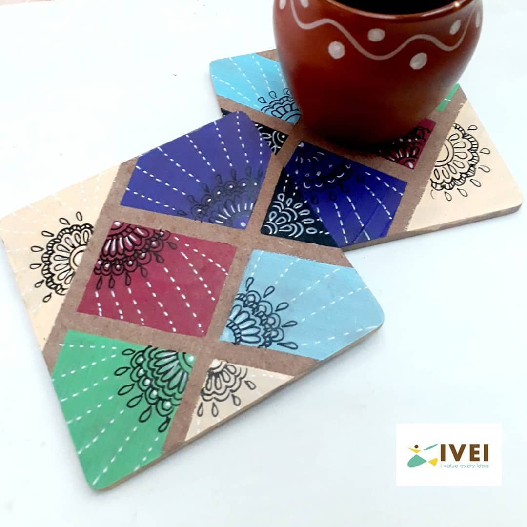 DIY square coasters  Our very creative designer @chetna2312 has painted these Coasters 😊  Just explore and create and choose from our wide range of DIY Products.  Do share a picture of your pretty creations. And watch out for a surprise 😊  We are on Amazon and our website is .