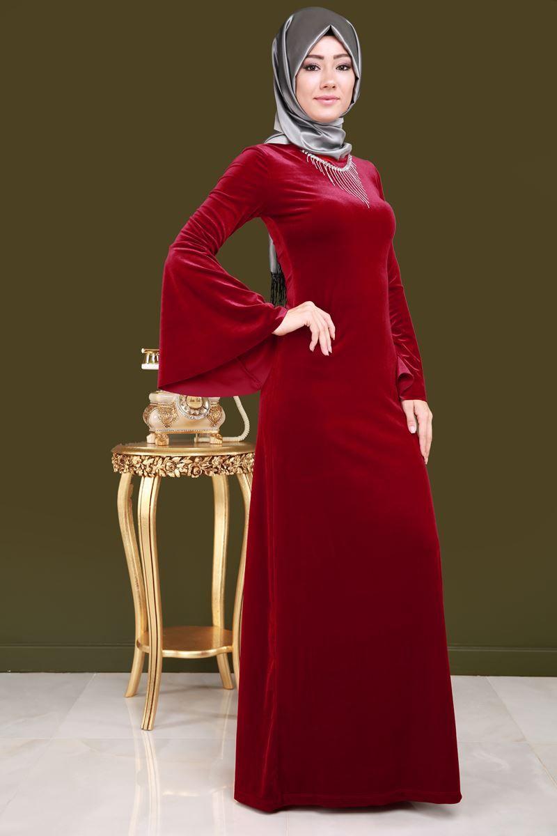 Sonbahar Kis Volan Kol Kadife Elbise Kirmizi Urun Kodu Arn38133 89 90 Tl The Dress Elbise Uzun Elbise