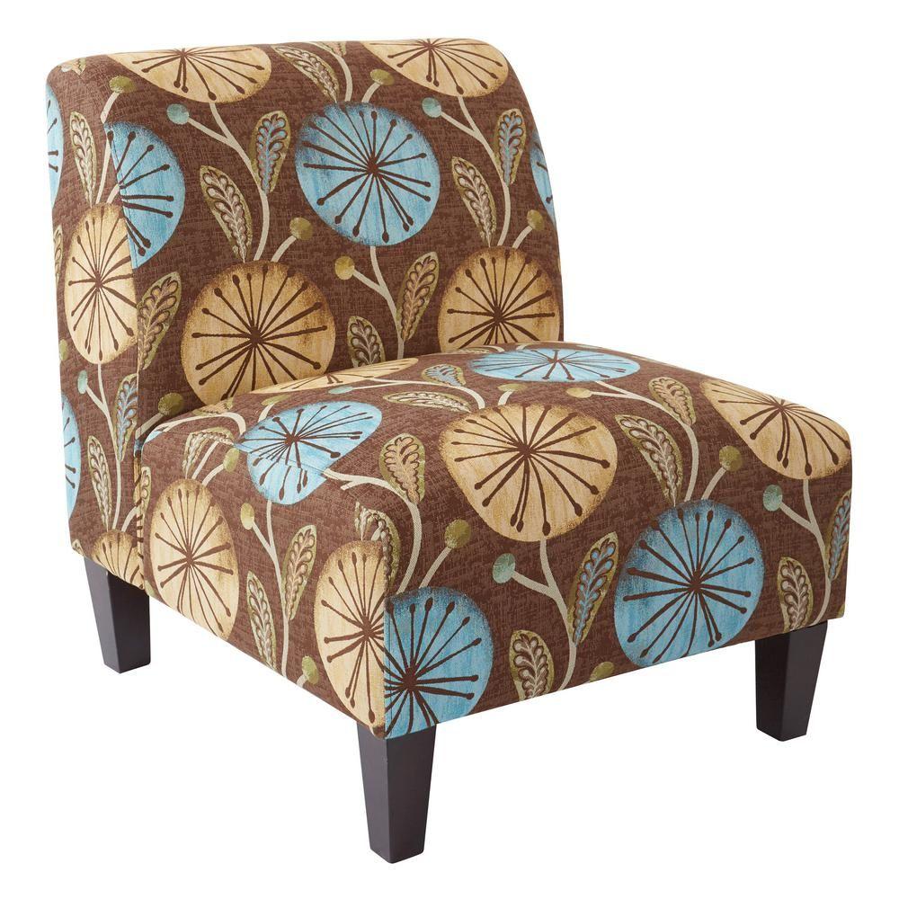 Best Ave Six Magnolia Dandelion Aqua Fabric Accent Chair And 400 x 300