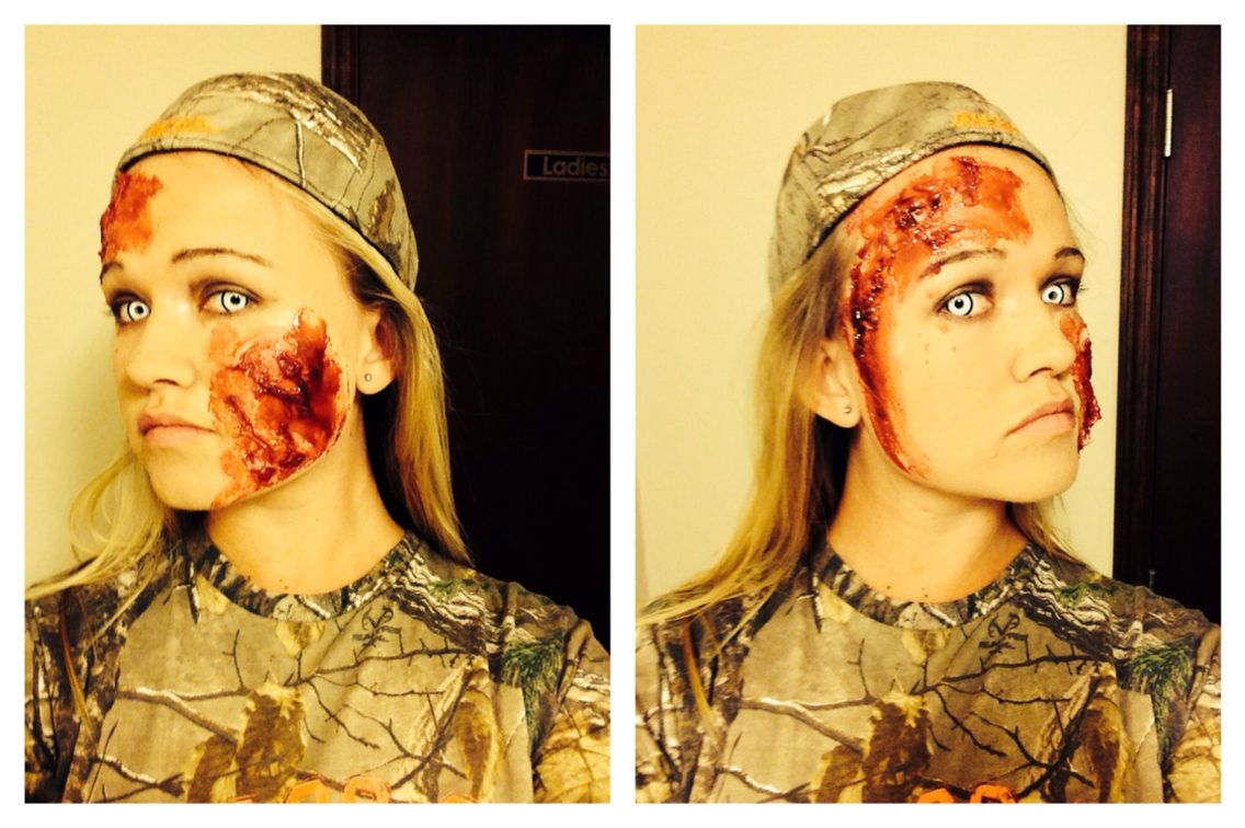 Easy zombie makeup, liquid latex, tissue paper, fake blood. Fake ...