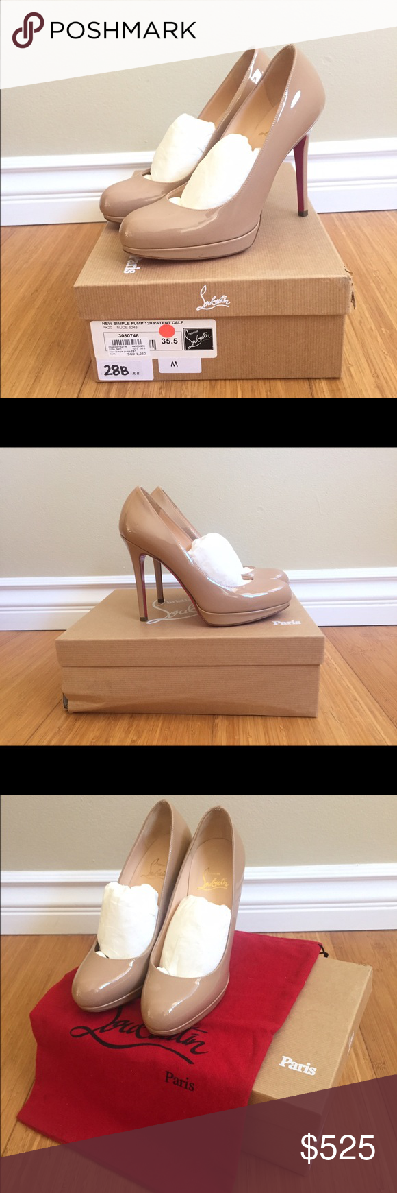 quality design 2d3b2 ec664 Christian Louboutin New Simple Pump 120 Nude Size 35.5 (US5 ...