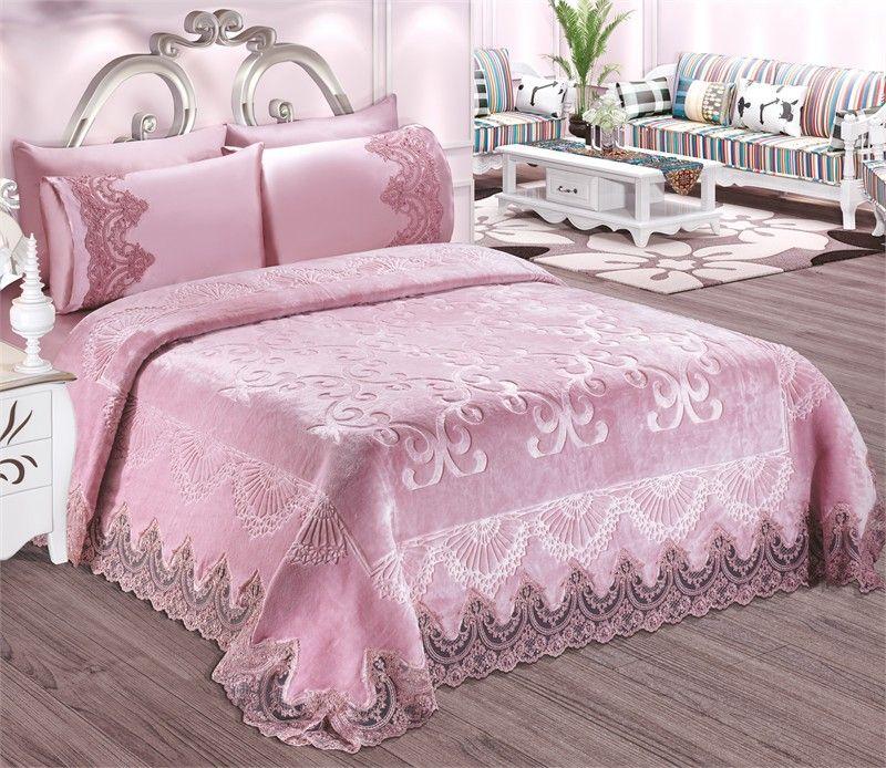 couverture 6 pieces rose couvre lit couvre lit rose iklil espace deco iklil. Black Bedroom Furniture Sets. Home Design Ideas
