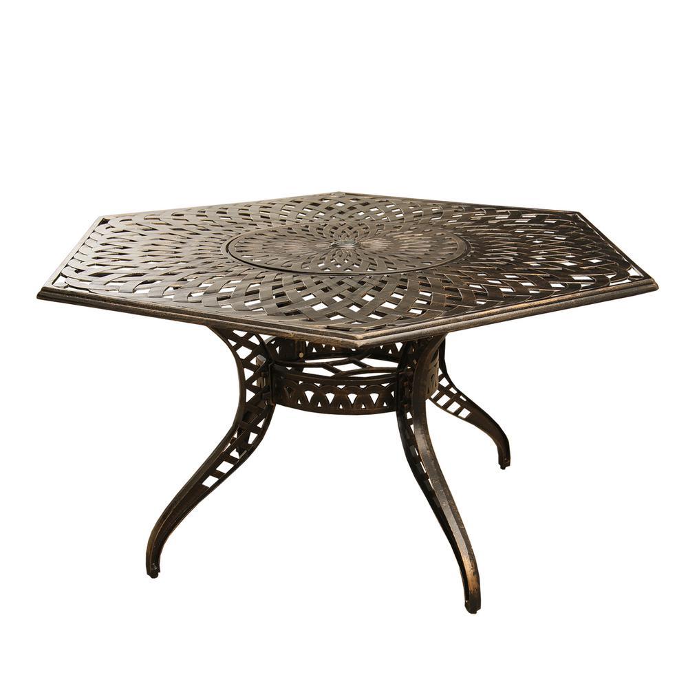 Contemporary Modern 63 In Hexagon Aluminum Outdoor Dining Table