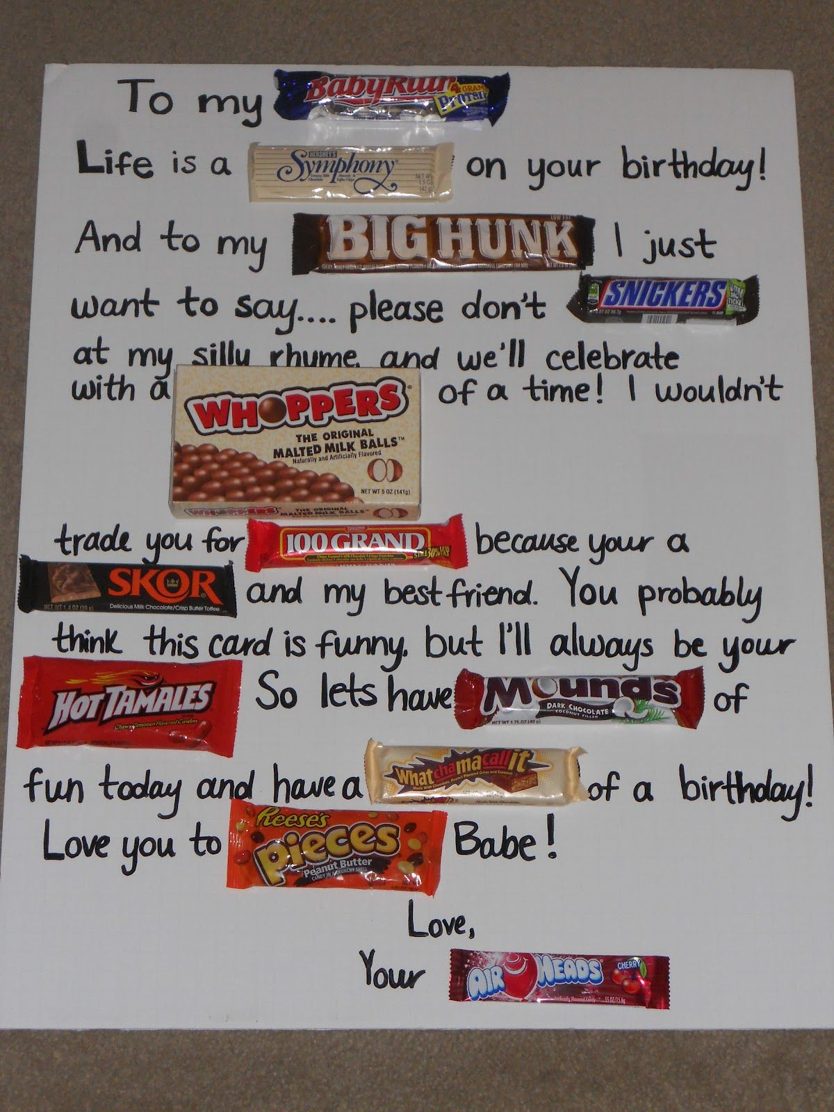 Candy bar poem birthday card/poster for someones birthday ...