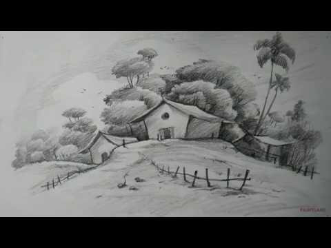 How To Draw Easy And Simple Landscape For Beginners With Pencil Landscape Pencil Drawings Landscape Drawing Easy Landscape Drawing Tutorial
