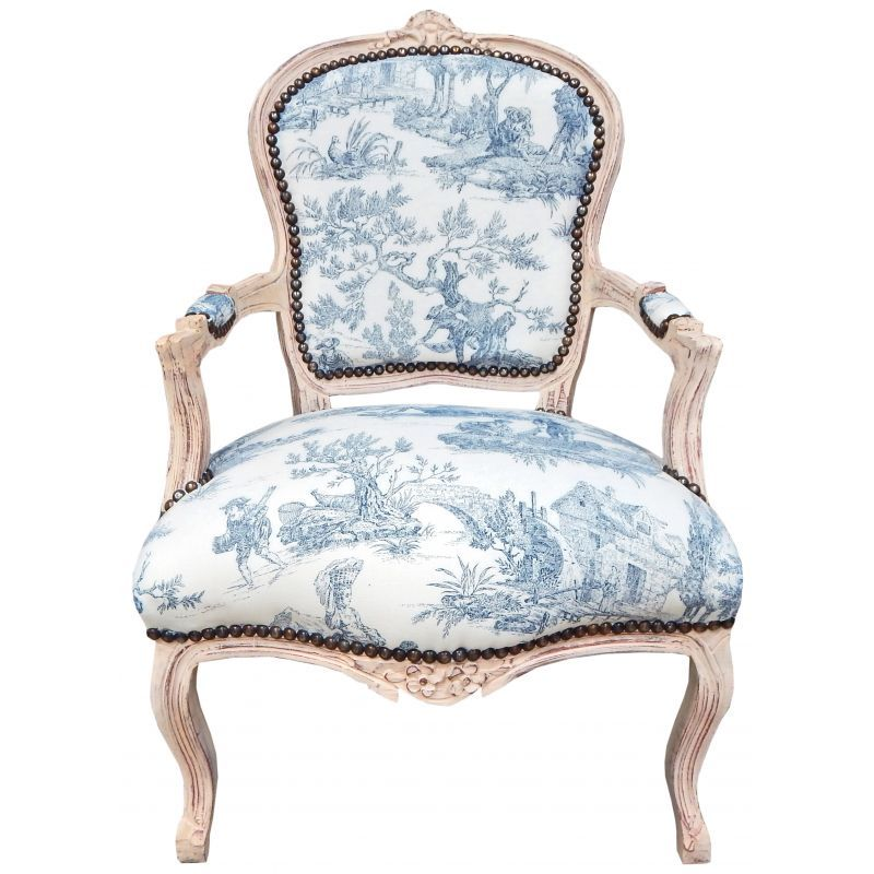 fauteuil style louis xv tissu toile jouy bleu bois beige 800 800 home pinterest. Black Bedroom Furniture Sets. Home Design Ideas