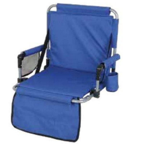 This Portable Stadium Chair is perfect for your outdoor events.  Featuring two folded metal hooks at the bottom of the chair that attach to the edge of the bleacher, allowing for secure and comfortable seating.  Ideal for sporting events, hiking, camping, boating and more! #football #stadiumchair #camping