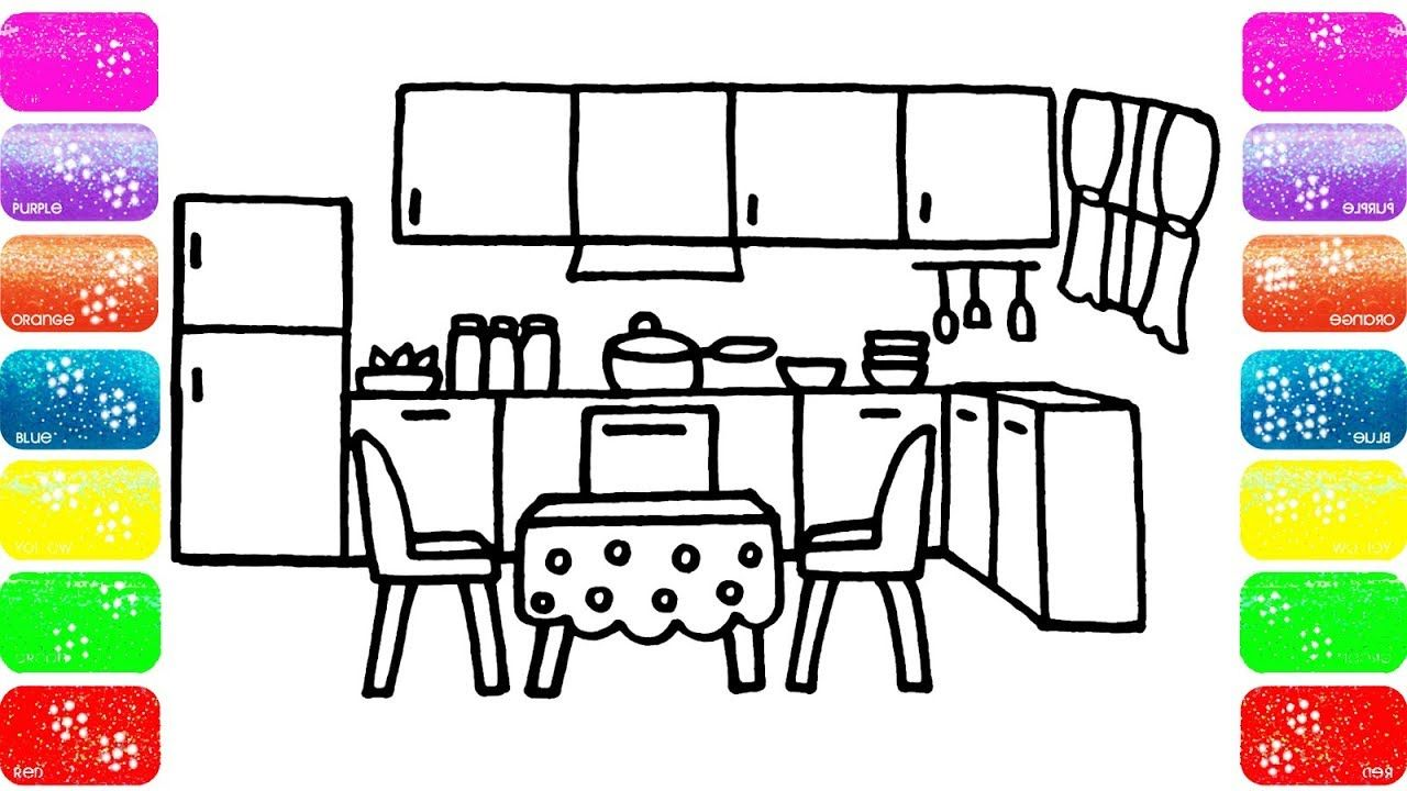 How to draw a kitchen for Kids - Coloring page for Kids ... How To Draw A Kitchen on draw floor plan kitchen, cartoon kitchen, easy simple drawings kitchen, draw your kitchen, draw my own kitchen, drawing black and white kitchen,