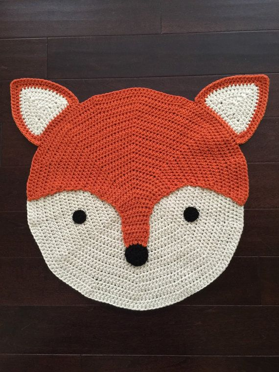 Crochet Fox Rug Hand Made Rug Crochet Rug Area Rug Children Rug