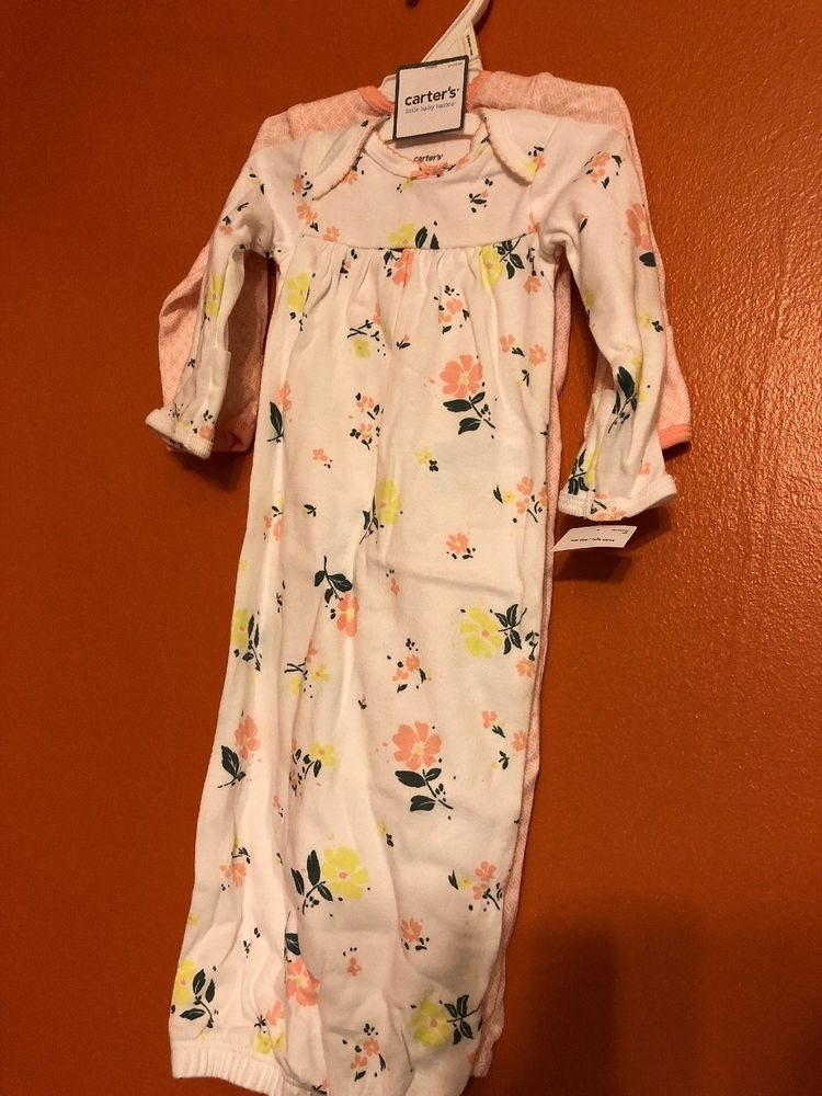 ea77aac5854c NWT 2-Piece Set of Carter's Baby Girl Pink Floral Sleep Gowns OS One Size  #fashion #clothing #shoes #accessories #babytoddlerclothing ...