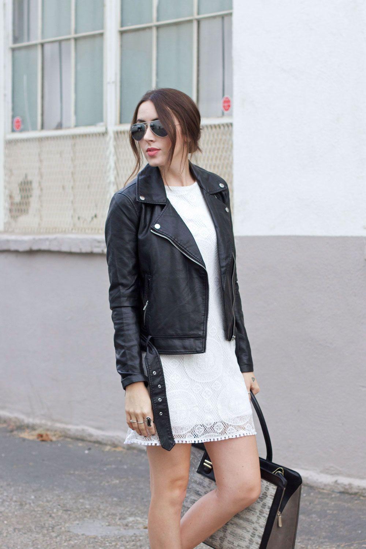 white lace dress, black leather moto jacket, snakeskin purse ...