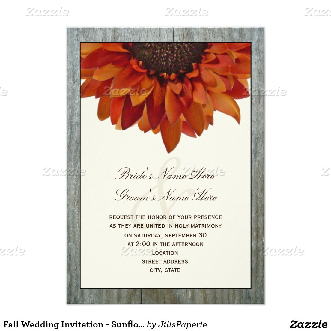 Fall Wedding Invitation - Sunflower & Barnwood | Autumn wedding ...
