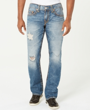 546ba73799fd True Religion Men s Straight-Leg Old Multi Wheat Big T Ripped Jeans - Blue  32