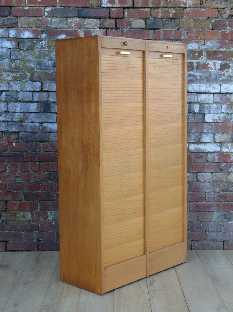 Mid Century Industrial Double Tambour Front Cabinet in French Oak 1940s
