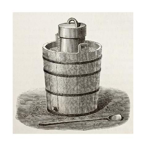 Art Print: Old Illustration Of An Antique Ice Cream Maker by marzolino : 12x12in #icecreammaker