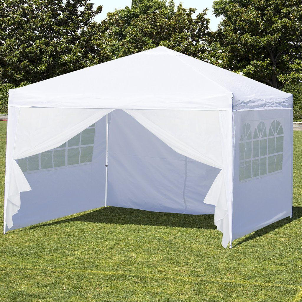 10x10ft Pop Up Canopy Tent W Side Walls White Silver Canopy Tent Outdoor Canopy Outdoor Canopy Tent