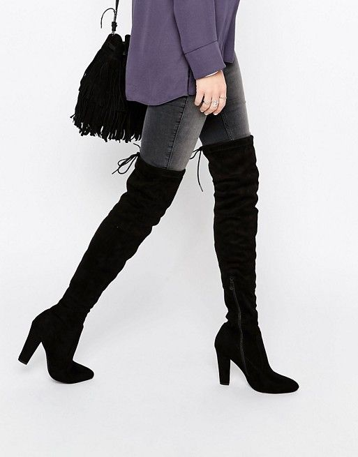289b501618ec Public Desire Olivia Tie Back Heeled Thigh High Boots