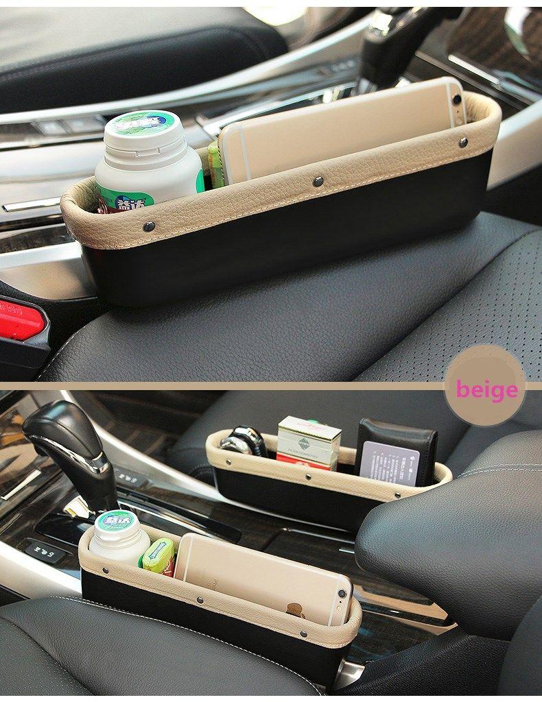 Leather Car Seat Storage Box Auto Seat Gap Pocket Organizer For