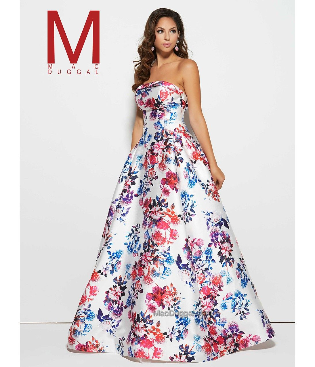 White strapless floral mid back long gown i could have danced all