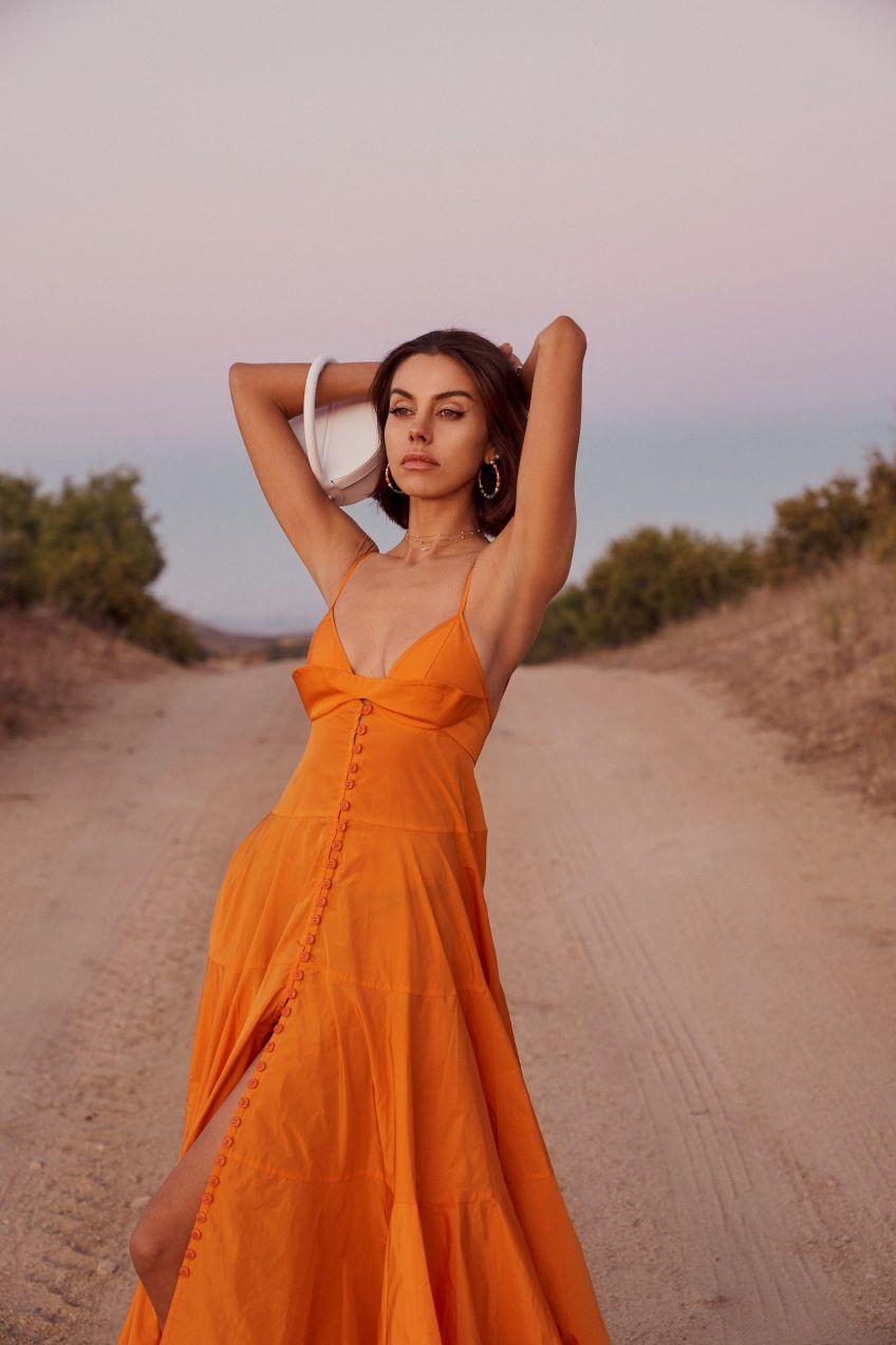 The Prettiest Summer Dress Trend To Wear Now Vivaluxury Summer Dress Trends Bright Orange Dress Summer Dresses [ 1272 x 848 Pixel ]