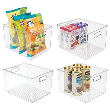 Mdesign Kitchen Pantry Food Storage Organizer Bin Plastic Clear 12 X 10 X 8 Pack Of 4 Food Storage Organization Container Organization Food Storage