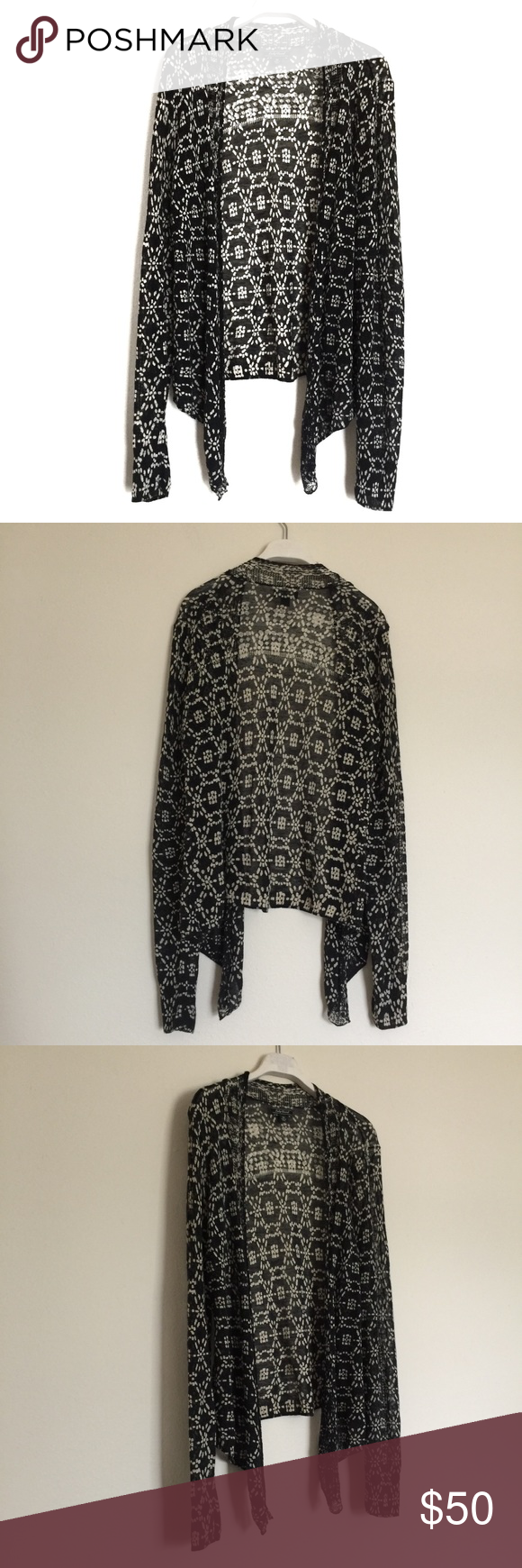 Lucky Brand black white knit waterfall cardigan M | Lucky brand ...