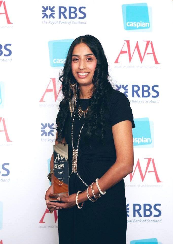 "Salma Bi   Winner of the First ""The Asian Women of Achievement Awards"" Sports Category Award Trophy In 2012"