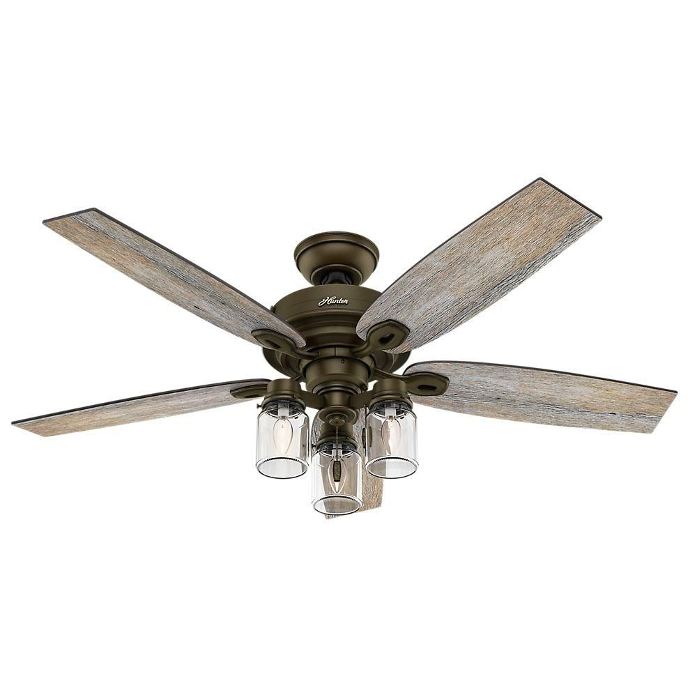 Hunter Crown Canyon 52 In Indoor Regal Bronze Ceiling Fan With Light 53331 The Home Depot Bronze Ceiling Fan Rustic Ceiling Fan Farmhouse Ceiling Fan