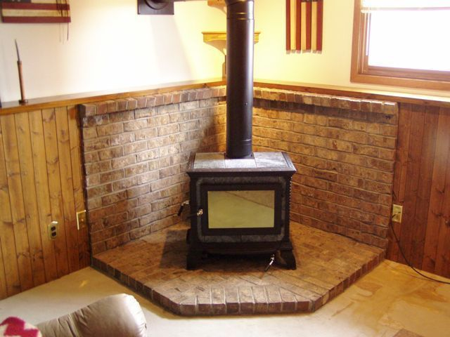 wood stove back walls and hearth | burning stove back wall brick surround  for wood burning - How To Use Concrete Pavers For A Wood Stove Hearth Stove