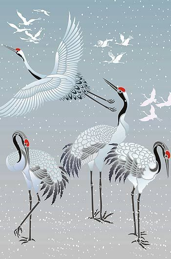 Large Standing Cranes Stencil: All The Crane Motifs In The Japanese