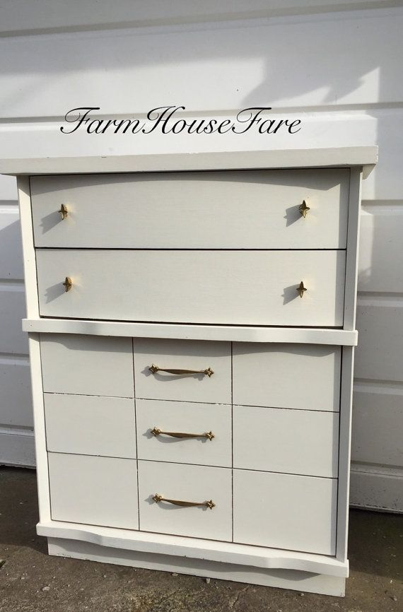 White Painted Dresser Chalk Paint Mid Century Modern Vintage Bedroom  Furniture Mod Style Chest of Drawers Farm House Fare - White Painted Dresser Chalk Paint Mid Century Modern Vintage Bedroom