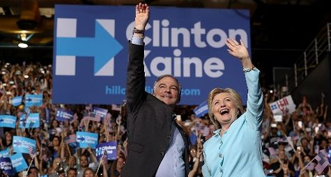 Hillary Clinton e Tim Kaine a Miami (GettyImages)