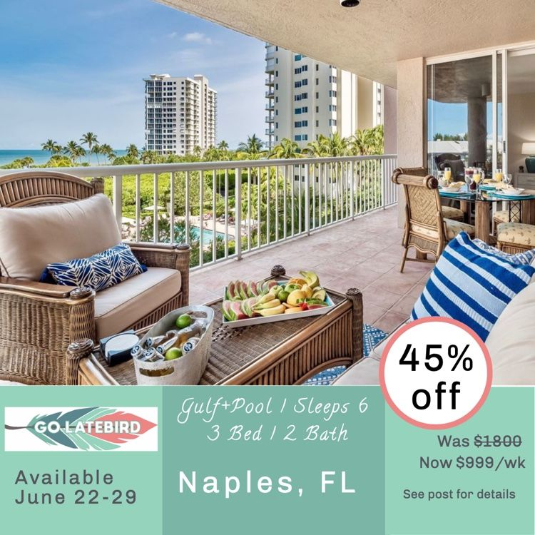 Act Fast On This Juicy All Inclusive Deal And Pamper Yourself In Naples Next Week Beachfront Zen Is A 3 2 Sleeps 6 Condo In The Naples With Images Outdoor Furniture Sets
