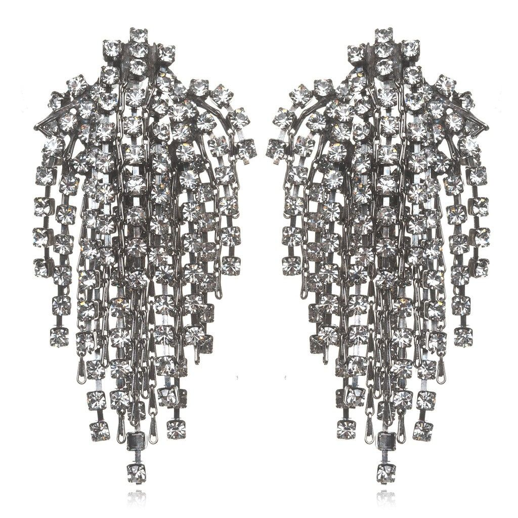 Charm & Chain | Cecile Crystal Earrings, Silver - Earrings - Jewelry