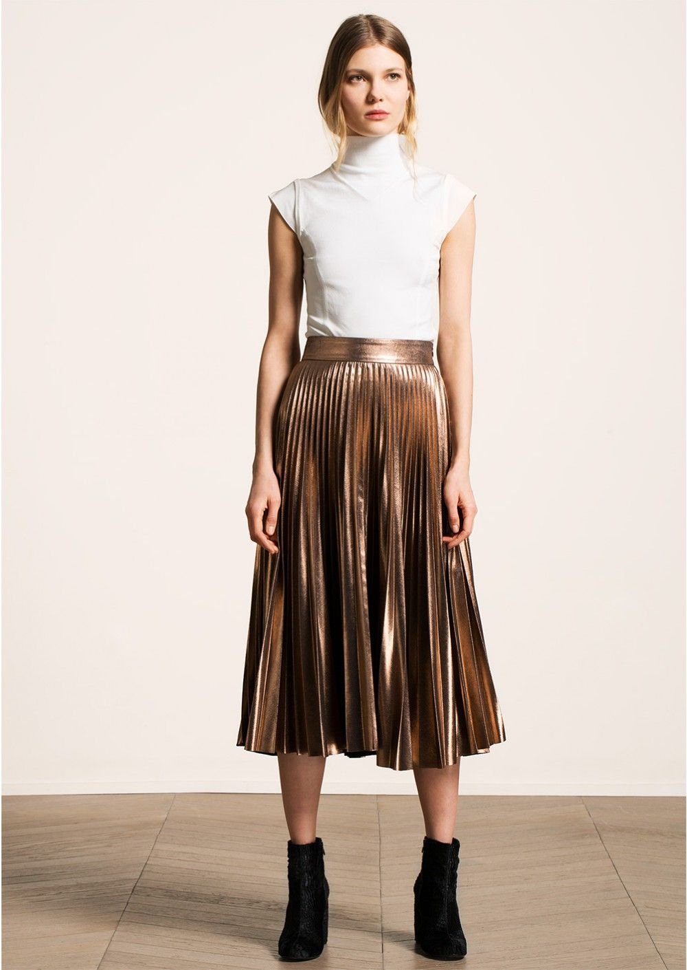 Jupe plissée métallisée bois de rose - femme - tara jarmon 2