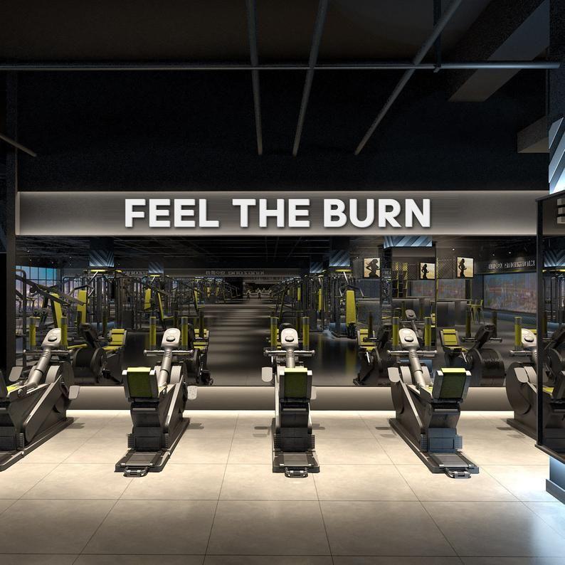 Feel The Burn Gym Wall Art Quotes Gym Decor Gym Gym Stickers