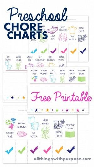Awesome Chore Charts That Work Preschool age, Parents and Potty