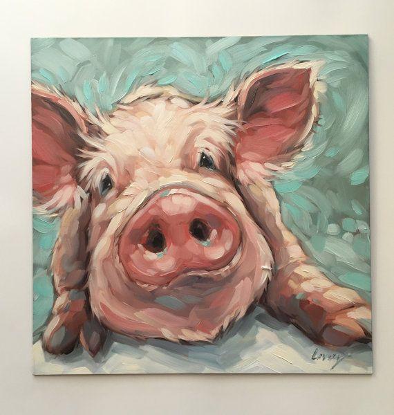 peinture de cochon peinture l huile impressionniste d un doux petit cochon parfait pour une. Black Bedroom Furniture Sets. Home Design Ideas