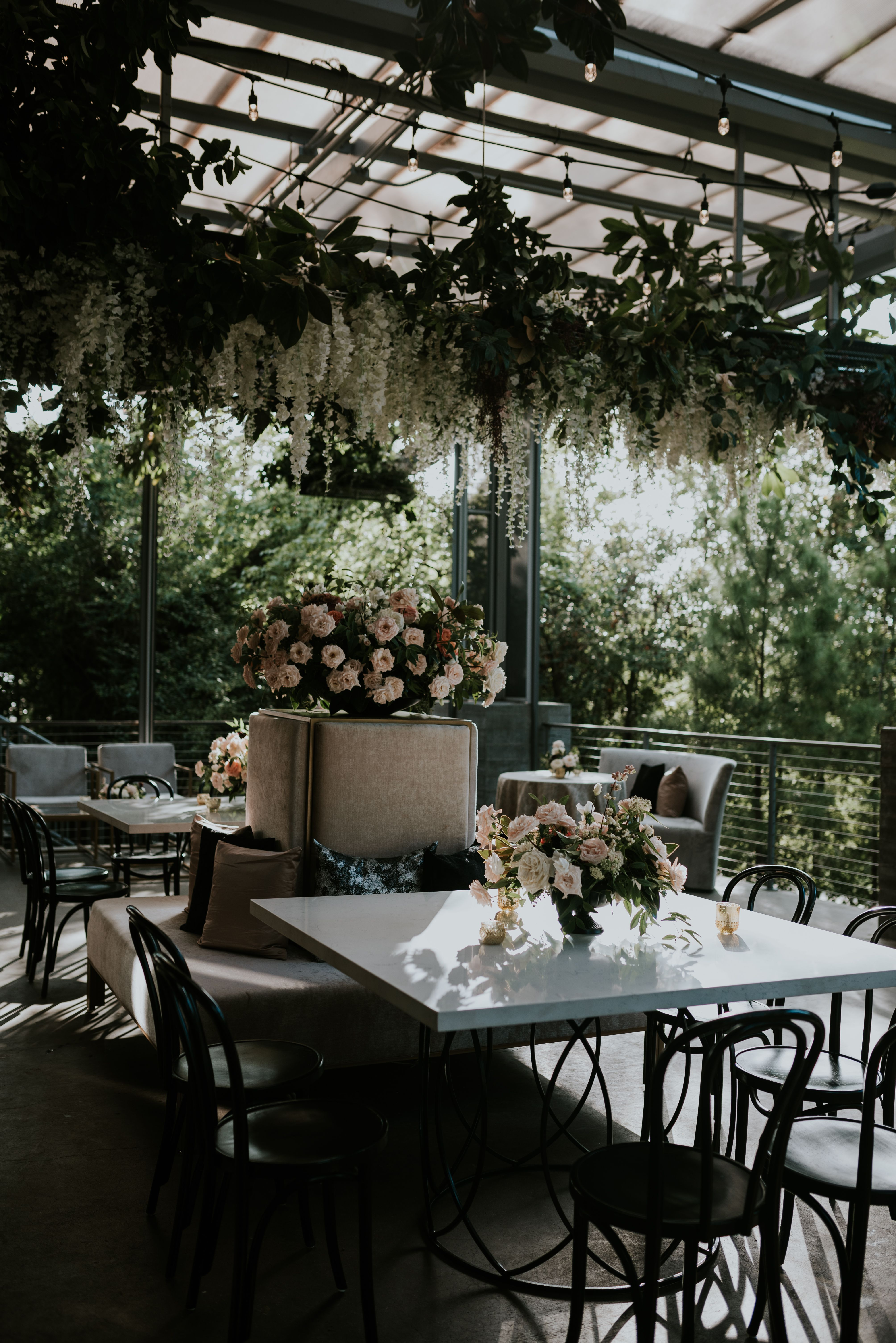 Black and white lounge seating white lounge wedding