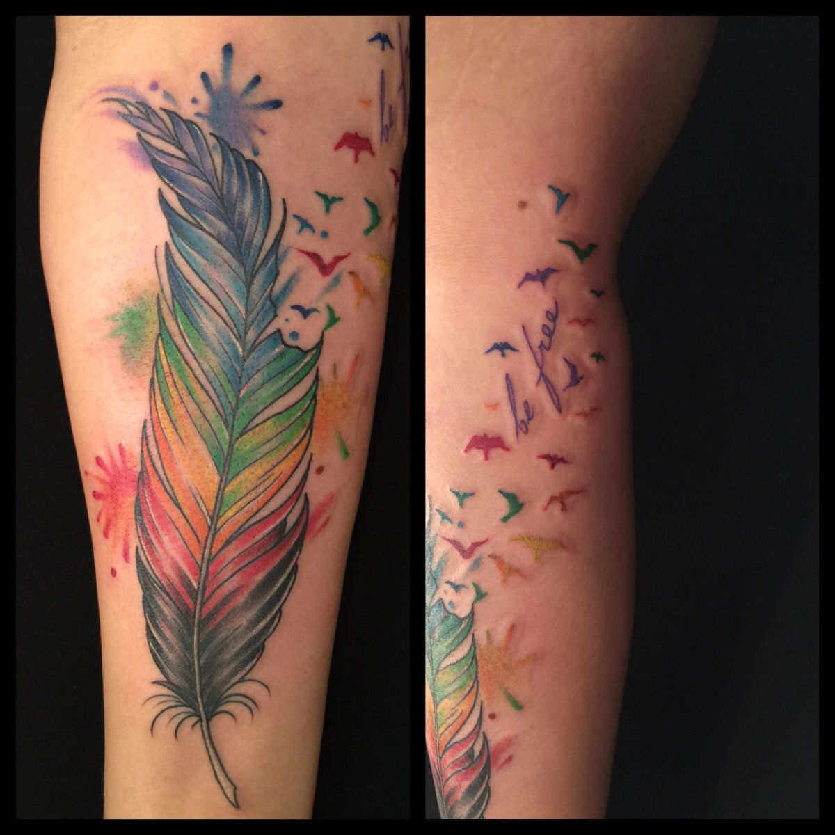 rainbow gay pride feather with birds tattoo watercolor tattoo. Black Bedroom Furniture Sets. Home Design Ideas