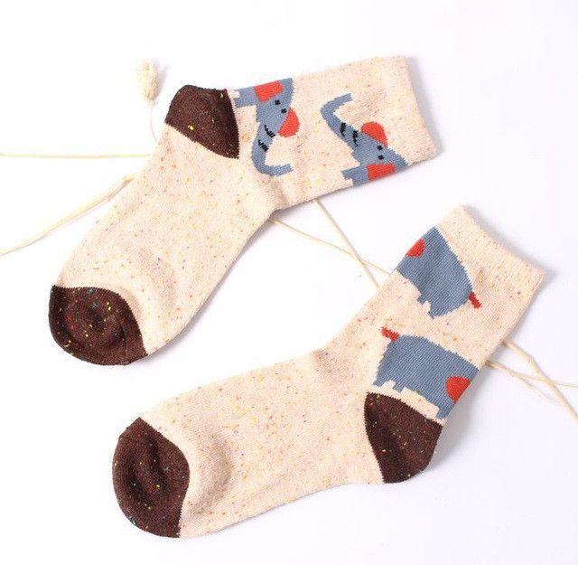 Vintage thick rabbit wool women ladies crew socks retro winter Harajuku animal owl deer cat elephant brand lovely cute cotton