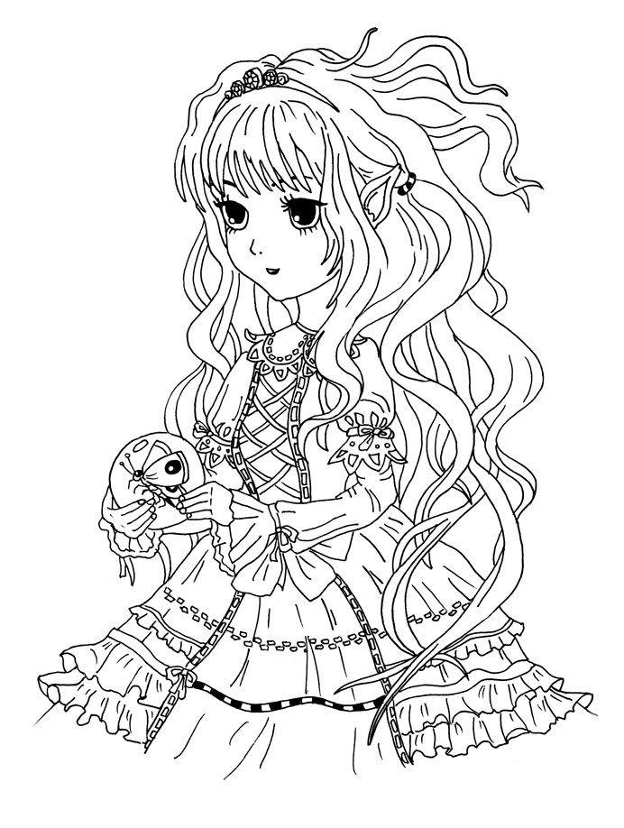 Ausmalbild Manga Madchen Mit Schmetterling Kostenlos Zum