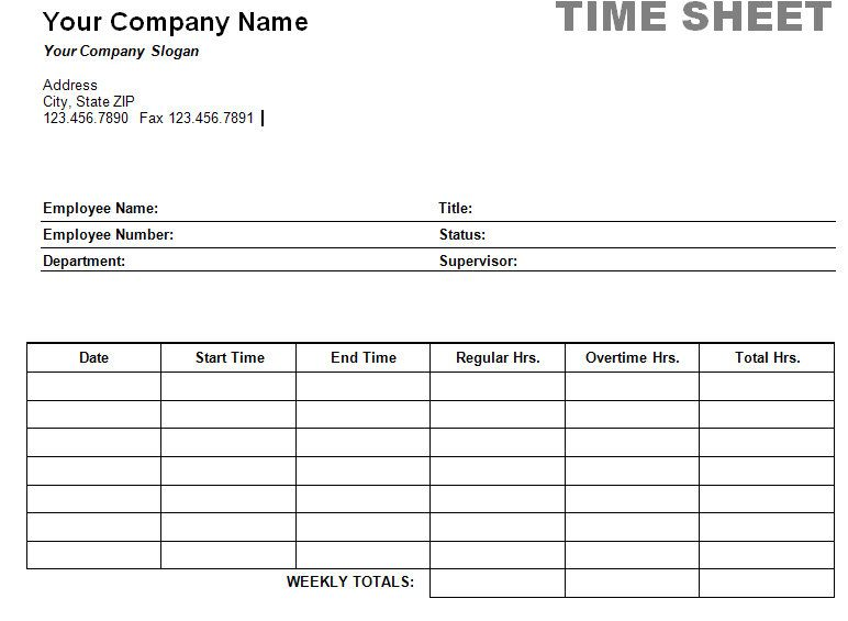 Free Printable Timesheet Templates – Sample Blank Timesheet