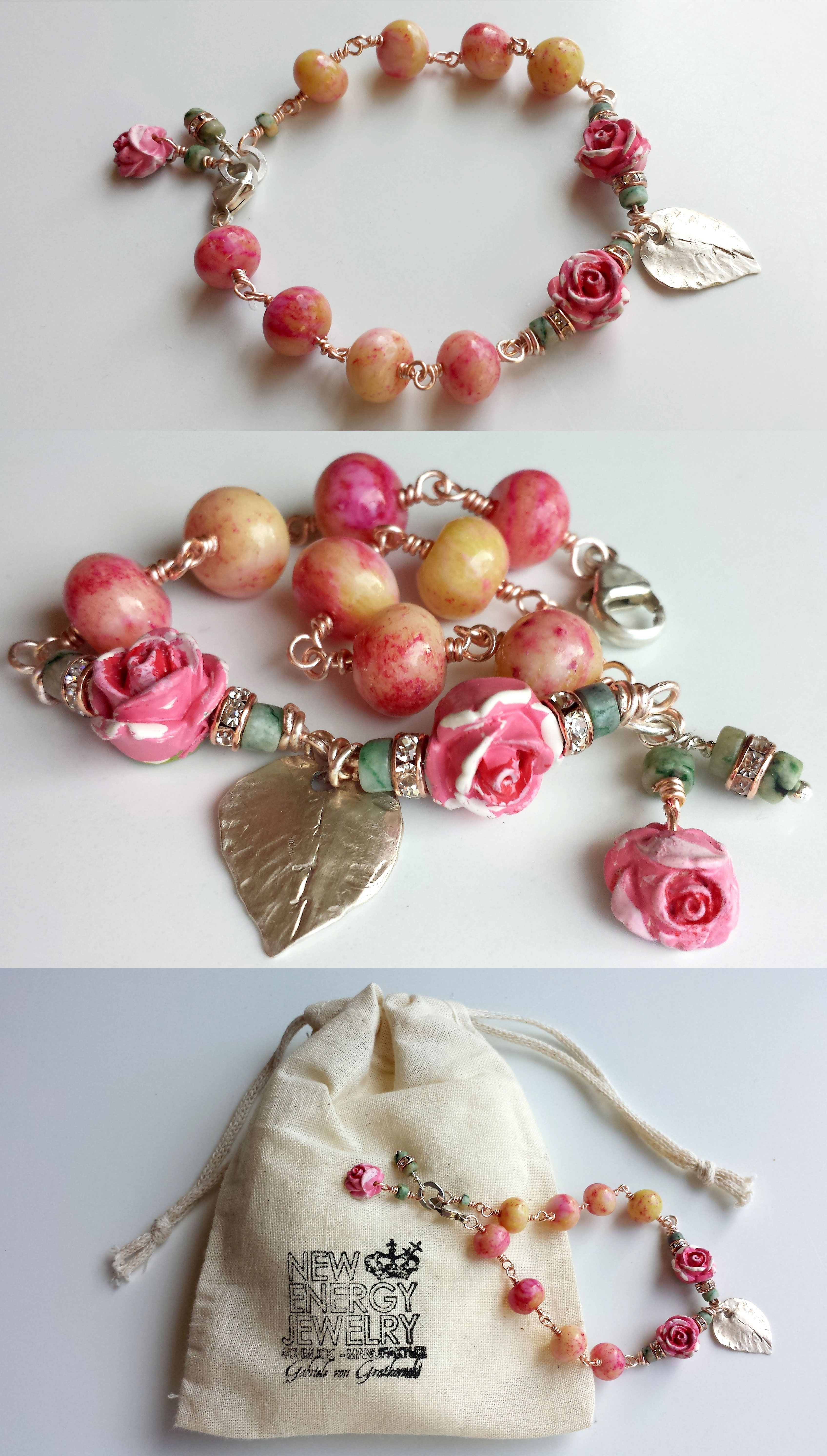 romancing the rose bracelet, silver leaf, jade, rosegold NEW ENERGY JEWELRY www.gabrielevongratkowski ... coming soon ...