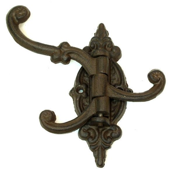 2 Fancy cast iron SWIVEL coat hooks with 3 arms