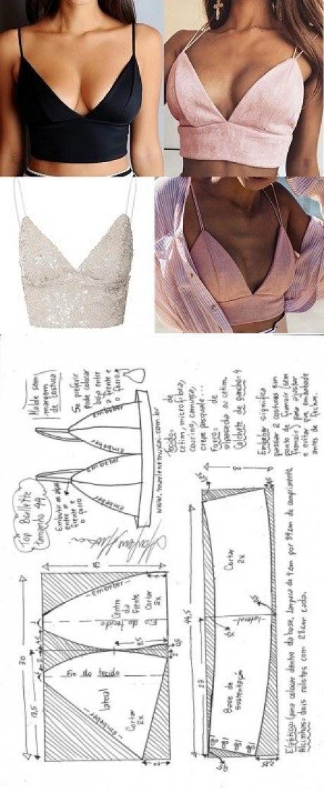 Top bralette para tecido plano   DIY - molde, corte e costura ...
